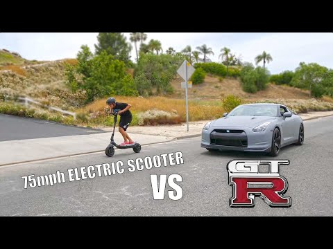 NISSAN GTR VS WORLDS FASTEST ELECTRIC SCOOTER 75MPH!! RION Scooter