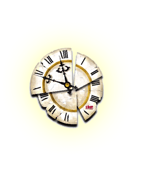 orologio frantumato in 4 pezzi