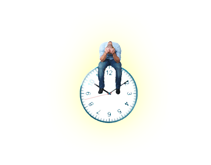 Uomo che si dispera sopra ad un orologio